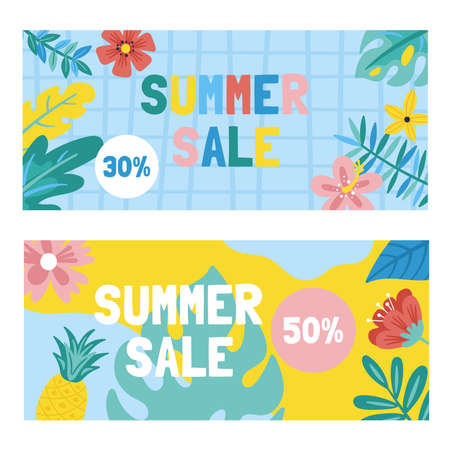Summer cute sale banner with monstera leaf, flowers and palm leaves. Template for social media banner, poster or newsletter design