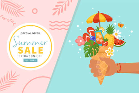 Summer creative concept with hand holding ice cream waffle cone and summer elements. Flat style cartoon vector illustration 일러스트