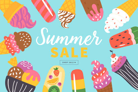 Summer sale banner design with ice cream  . Template for social media banner, poster or newsletter design. Vector Illustration