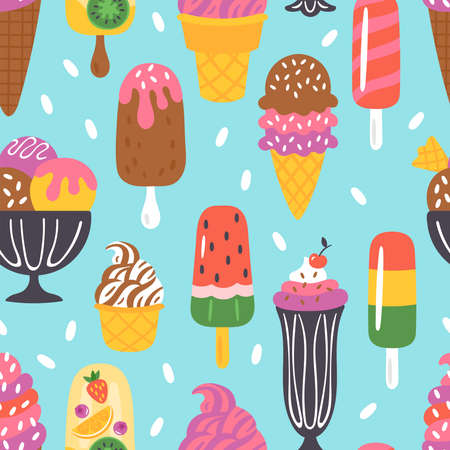 Seamless pattern for summer with ice cream   . Childish background for fabric, wrapping paper, textile, wallpaper and apparel. Vector Illustration 일러스트