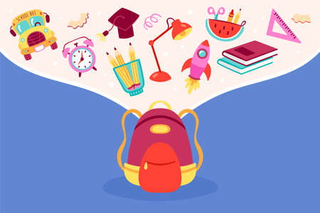 Back to school concept with cute backpack bag and school elements. Childish print for cards, posters, invitations and banner. Vector Illustration