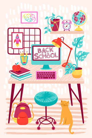 Back to school distance learning concept. Study at home with room interior, desk and computer. Childish print for cards, posters and banner. Vector Illustration