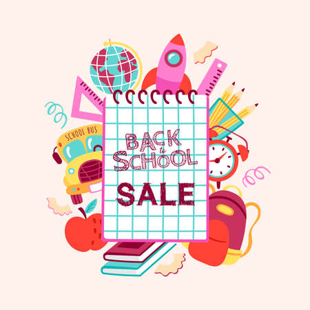 Back to school sale banner design. Childish print for cards, posters, invitations and banner. Vector Illustration