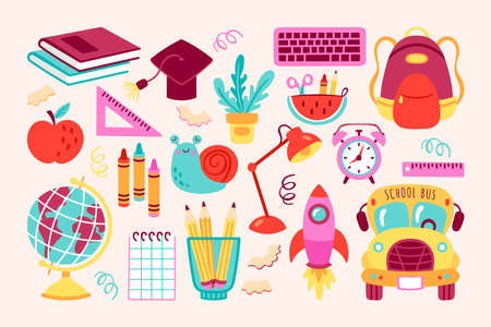 Back to school cute elements set. Childish print for cards, posters, invitations and stickers. Vector Illustration 일러스트