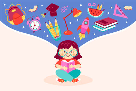 Back to school concept with cute girl reading book and school elements. Childish print for cards, posters, invitations and banner. Vector Illustration Illustration