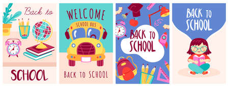Back to school banner set. Childish print for cards, posters, invitations and banner. Vector Illustration