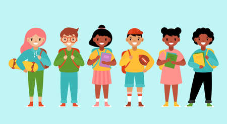 Back to school concept with cute diversity students. Flat style cartoon vector illustration