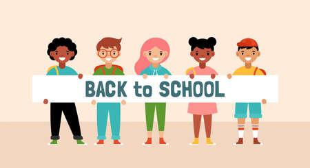 Back to school concept with cute diversity students holding banner. Flat style cartoon vector illustration Illustration