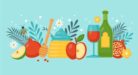 Jewish holiday rosh hashanah concept with honey, apple, pomegranate and wine. Vector illustration. Illustration