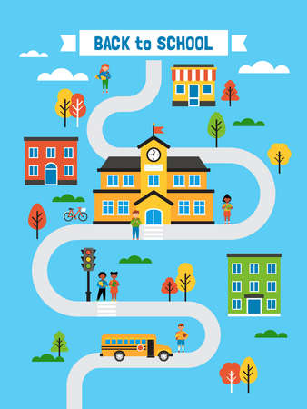 Back to school creative  poster design with school building; students, school bus and road. Flat style cartoon vector illustration