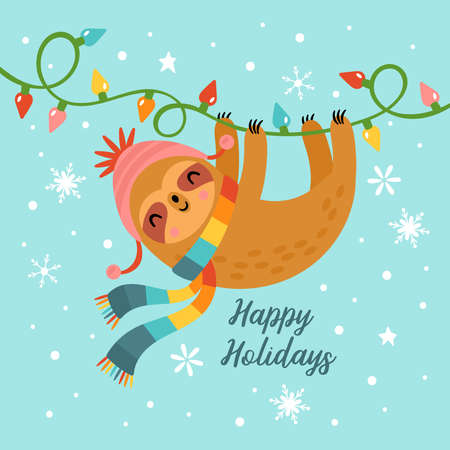 Christmas holiday greeting card design with cute sloth character. Childish print for cards, stickers, apparel and nursery decoration. Vector Illustration