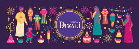 Diwali Hindu festival greeting card design with cute people, candles and lantern. Childish print for card, stickers and party invitations. Vector illustration
