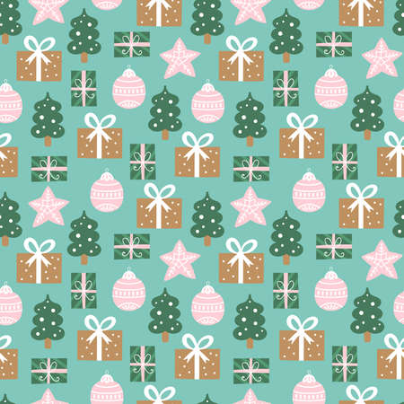 Seamless pattern for Christmas holiday with cute gift boxes and decorations. Childish background for fabric, wrapping paper, textile, wallpaper and apparel. Vector Illustration