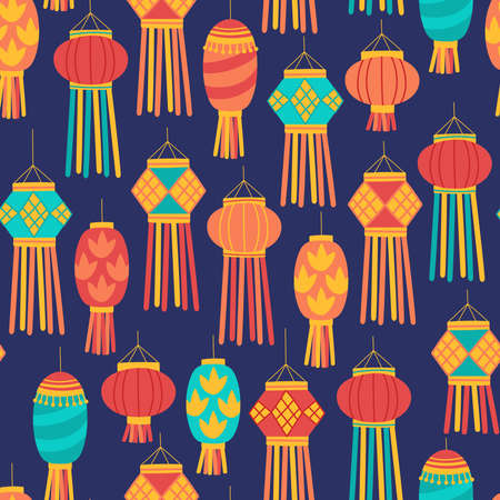 Seamless pattern for Diwali Hindu festival with cute lantern. Childish print for wrapping paper, background and wallpaper. Vector illustration Ilustrace