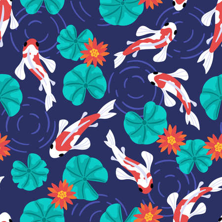 Seamless pattern with cute koi carps fish and lotus flower. Childish background for fabric, wrapping paper, textile, wallpaper and apparel