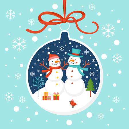 Merry Christmas greeting card design with snowman characters and bauble ornament. Flat style cartoon illustration Ilustrace