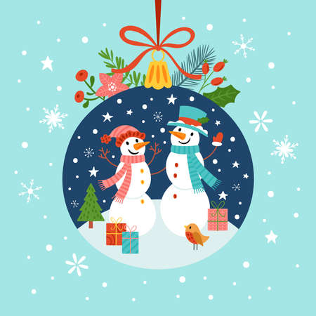 Christmas holiday geeting card with cute snowman character and bauble ornament. Childish print for cards, invitation, poster and banner. Vector Illustration