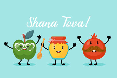 Jewish holiday Rosh Hashanah greeting card design with honey, apple and pomegranate funny cartoon characters. Hebrew text :