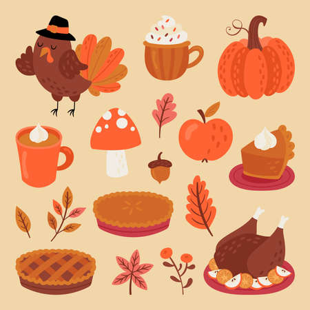 Thanksgiving holiday cute elements set. Childish print for cards, stickers and party invitations. Vector illustration