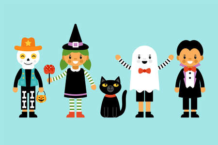 Cute Halloween children in costumes character set. Greeting card design. Flat style cartoon illustration