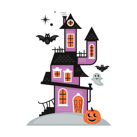 Halloween cute haunted house. Flat style cartoon vector illustration