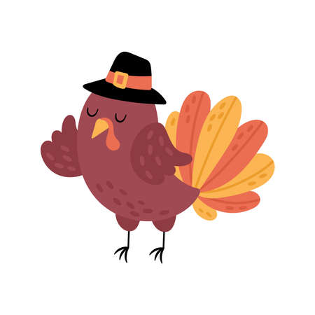 Thanksgiving holiday cute turkey character design. Childish print for cards, stickers and party invitations. Vector illustration Ilustrace