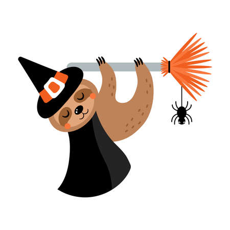 Cute Halloween sloth character in witch costume. Flat style cartoon illustration Ilustrace