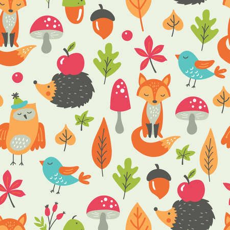 Seamless pattern for autumn season with forest animals and leaves. Childish background for fabric, wrapping paper, textile, wallpaper and apparel. Vector Illustration