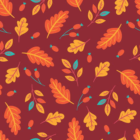 Seamless pattern for autumn season with fall leaves and berries. Childish background for fabric, wrapping paper, textile, wallpaper and apparel. Vector Illustration