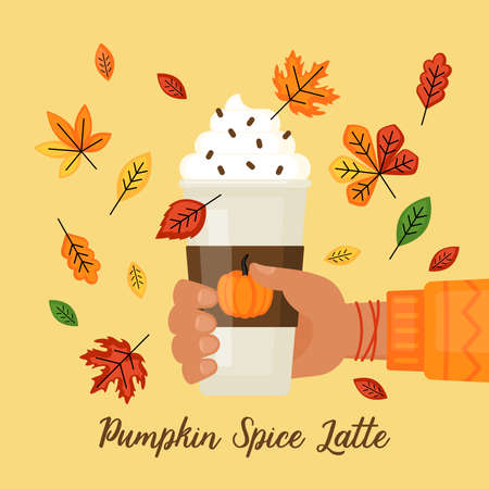 Pumpkin spice latte concept with paper cup, hand and autumn leaves. Flat style cartoon vector illustration Ilustrace