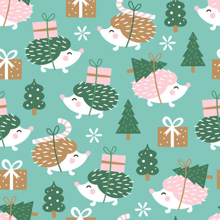 Seamless pattern for Christmas holiday with cute heghog. Childish background for fabric, wrapping paper, textile, wallpaper and greeting cards. Vector Illustration