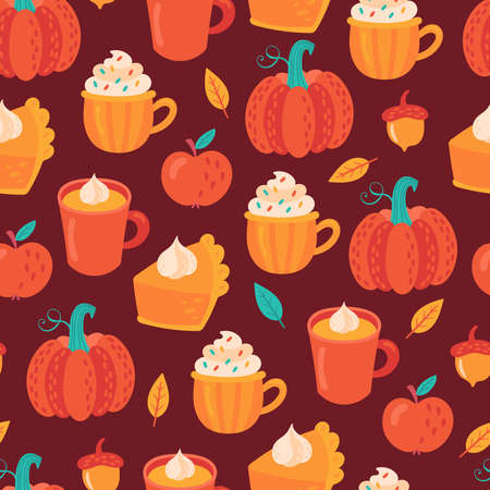 Seamless pattern for Thanksgiving holiday with pumpkin spice latte coffee and pumpkin pie. Childish background for fabric, wrapping paper, textile, wallpaper and apparel. Vector Illustration Ilustrace
