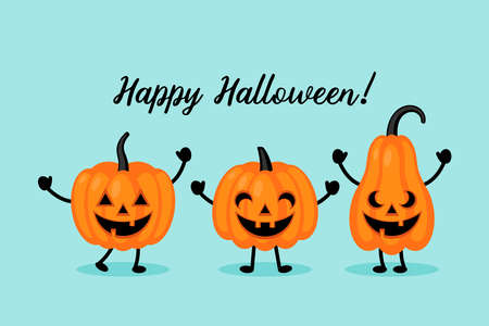 Cute Halloween jack o lantern pumpkin character set. Greeting card design. Flat style cartoon illustration Ilustrace