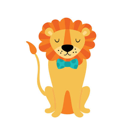 Cute lion character design. Childish print for cards, stickers, apparel and nursery decoration