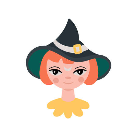 Halloween holiday cute witch girl portrait. Childish print for cards, stickers, appaerl and party invitations. Vector illustration