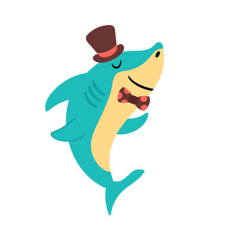 Cute shark character design. Childish print for cards, stickers, apparel and nursery decoration
