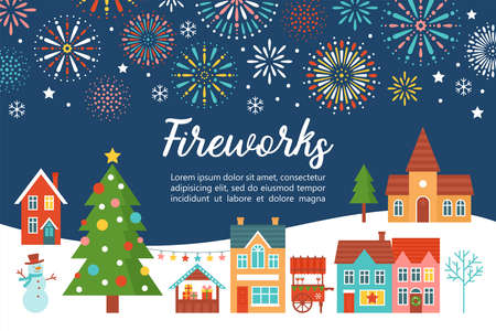 Christmas fireworks invitation card design with country village landscape and Christmas tree. Flat style cartoon illustration
