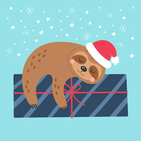 Christmas holiday cute sloth character greeting card design. Childish print for cards, stickers, apparel and nursery decoration. Vector Illustration