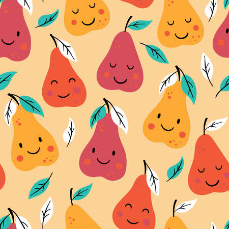 Seamless pattern for autumn season with cute pears. Childish background for fabric, wrapping paper, textile, wallpaper and apparel. Vector Illustration Ilustrace