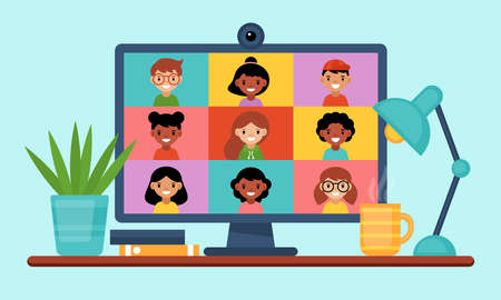 Conference video call concept. Online education and learning from home with computer screen. Flat style cartoon vector illustration Ilustrace