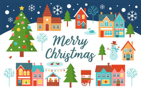 Merry Christmas greeting card design with country village landscape and Christmas tree. Flat style cartoon illustration