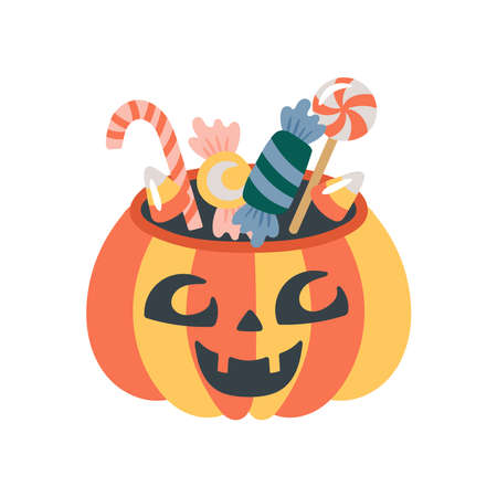 Halloween holiday cute jack o lantern pumpkin bucket with candy. Childish print for cards, stickers, apparel and party invitations. Vector illustration