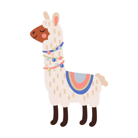 Cute llama character design. Childish print for cards, stickers, apparel and nursery decoration