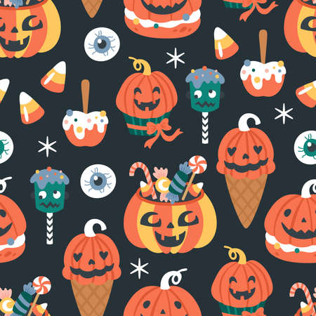 Seamless pattern for Halloween holiday with cute candy and food. Childish background for fabric, wrapping paper, textile, wallpaper and apparel. Vector Illustration