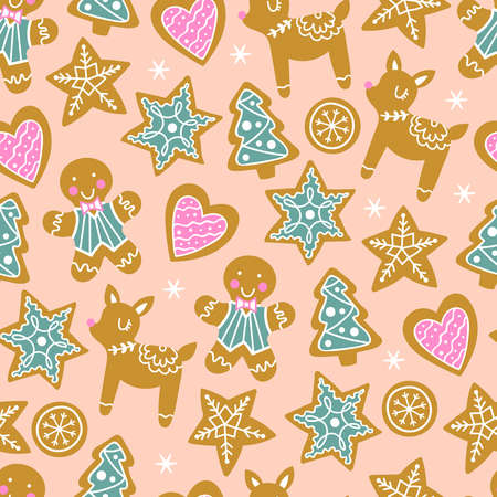 Seamless pattern for Christmas holiday with cute gingerbread cookies. Childish background for fabric, wrapping paper, textile, wallpaper and greeting cards. Vector Illustration Ilustrace