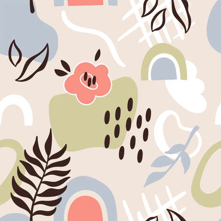 Seamless pattern with abstract shapes and leaves. Childish background for fabric, wrapping paper, textile, wallpaper and apparel. Vector Illustration Ilustrace