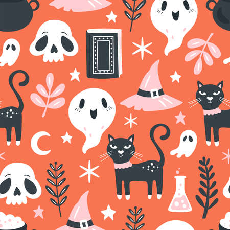 Seamless pattern for Halloween holiday. Childish background for fabric, wrapping paper, textile, wallpaper and apparel. Vector Illustration