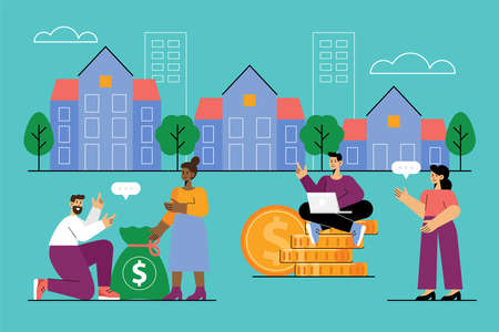 Real estate business concept with market growth, house presentation and people searching for property investment. Vector illustration Ilustrace