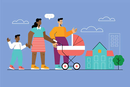 Happy family searching for new house concept. Business  property investment. Vector illustration