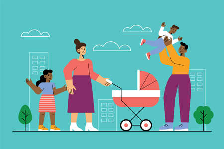Happy family concept with mother, father, son and daughter. Vector illustration